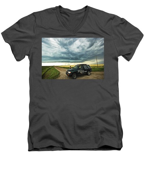 Men's V-Neck T-Shirt featuring the photograph Shelf Cloud Near Vibank Sk. by Ryan Crouse