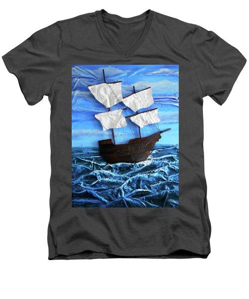 Ship Men's V-Neck T-Shirt by Angela Stout