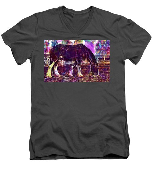 Men's V-Neck T-Shirt featuring the digital art Shire Horse Horse Coupling  by PixBreak Art