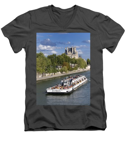 Sightseeing Boat On River Seine To Louvre Museum. Paris Men's V-Neck T-Shirt
