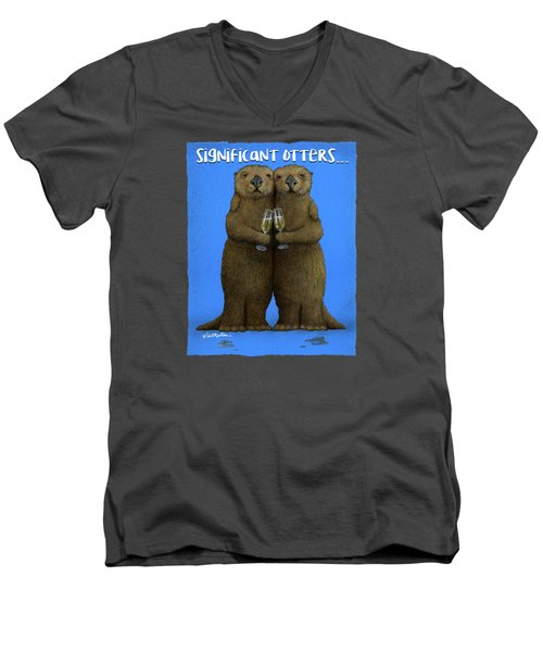 Significant Otters... Men's V-Neck T-Shirt by Will Bullas