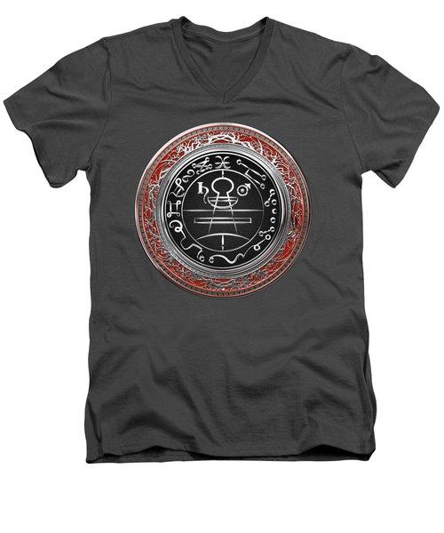 Silver Seal Of Solomon - Lesser Key Of Solomon On Red Velvet  Men's V-Neck T-Shirt