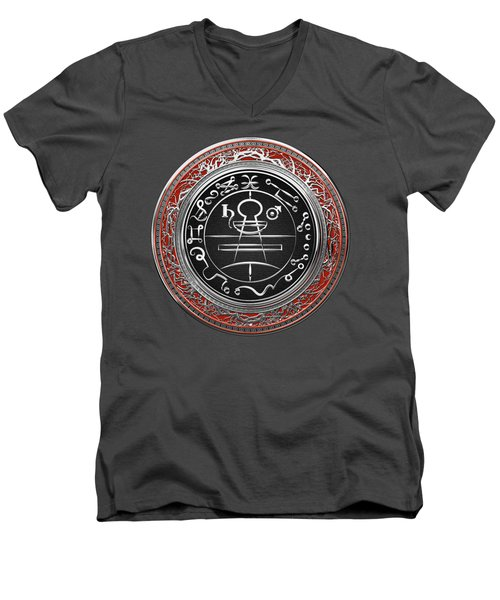 Silver Seal Of Solomon - Lesser Key Of Solomon On Red Velvet  Men's V-Neck T-Shirt