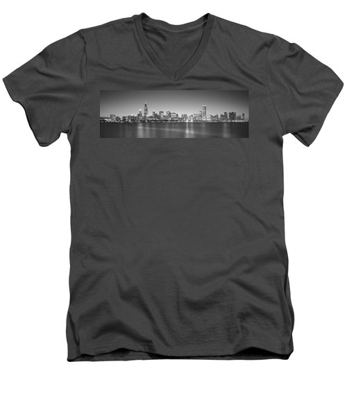 Skyscrapers At The Waterfront, Hancock Men's V-Neck T-Shirt by Panoramic Images