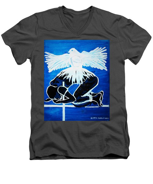 Slain In The Holy Spirit Men's V-Neck T-Shirt by Gloria Ssali