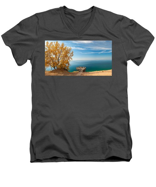 Men's V-Neck T-Shirt featuring the photograph Sleeping Bear Overlook by Larry Carr