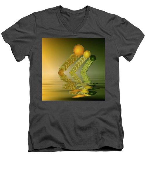 Men's V-Neck T-Shirt featuring the photograph Slices  Grapefruit Lemon Lime Citrus Fruit by David French