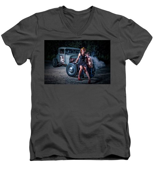 Smoke Men's V-Neck T-Shirt by Jerry Golab