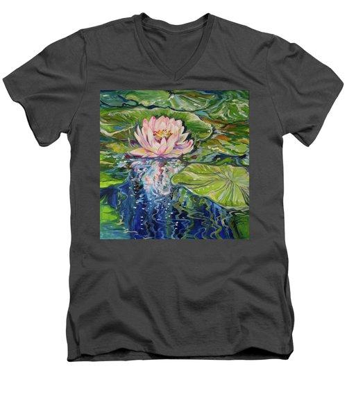 Solitude Waterlily Men's V-Neck T-Shirt by Marcia Baldwin
