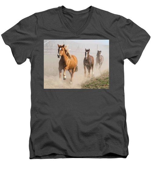 Sombrero Ranch Horse Drive At The Corrals Men's V-Neck T-Shirt