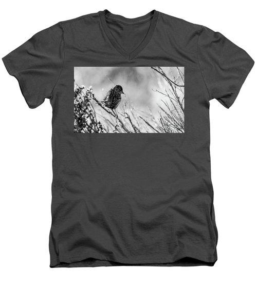 Snarky Sparrow, Black And White Men's V-Neck T-Shirt