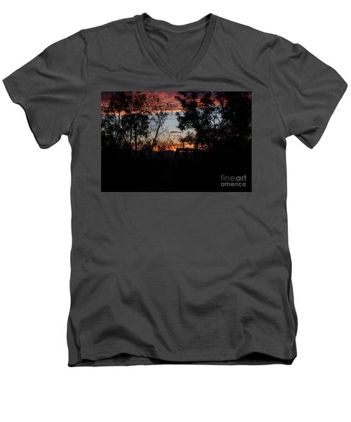 Men's V-Neck T-Shirt featuring the photograph Spectacular Sky by Anne Rodkin