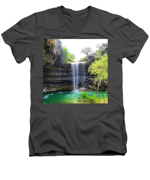 Spent The Day At Hamilton Pool. Yes Men's V-Neck T-Shirt by Austin Tuxedo Cat