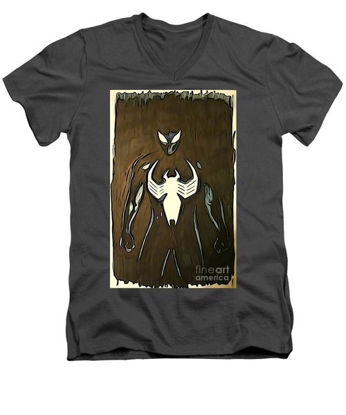 Men's V-Neck T-Shirt featuring the digital art Spider-man Back In Black by Justin Moore