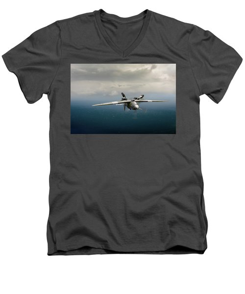 Men's V-Neck T-Shirt featuring the photograph Spitfire Pr Xix Ps915 Inverted by Gary Eason