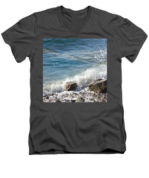 Splash Men's V-Neck T-Shirt by Judy Palkimas