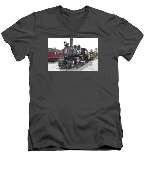 Steam Engline Number 349 Men's V-Neck T-Shirt by Linda Geiger