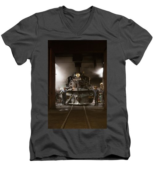 Men's V-Neck T-Shirt featuring the photograph Steam Locomotive In The Roundhouse Of The Durango And Silverton Narrow Gauge Railroad In Durango by Carol M Highsmith