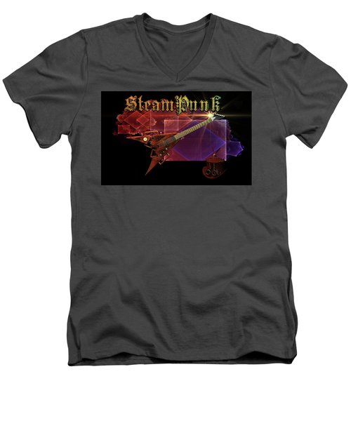 Men's V-Neck T-Shirt featuring the digital art Steampunk Guitar by Louis Ferreira
