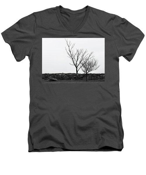 Stone Wall With Trees In Winter Men's V-Neck T-Shirt by Nancy De Flon