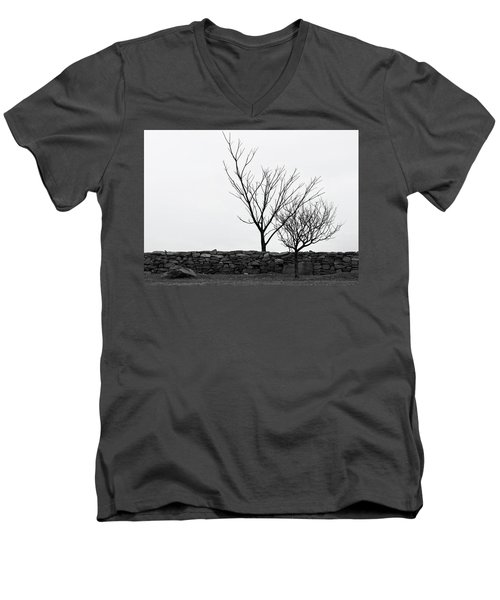 Stone Wall With Trees In Winter Men's V-Neck T-Shirt
