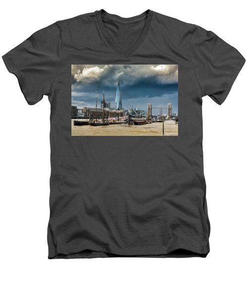 Men's V-Neck T-Shirt featuring the photograph Storm Looming Over The Shard And Tower Bridge by Gary Eason