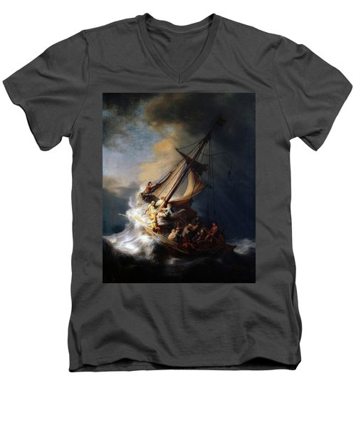 Storm On The Sea Of Galilee Men's V-Neck T-Shirt