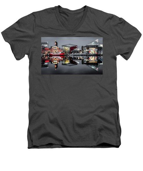 Stormy Night In Baltimore Men's V-Neck T-Shirt by Wayne King