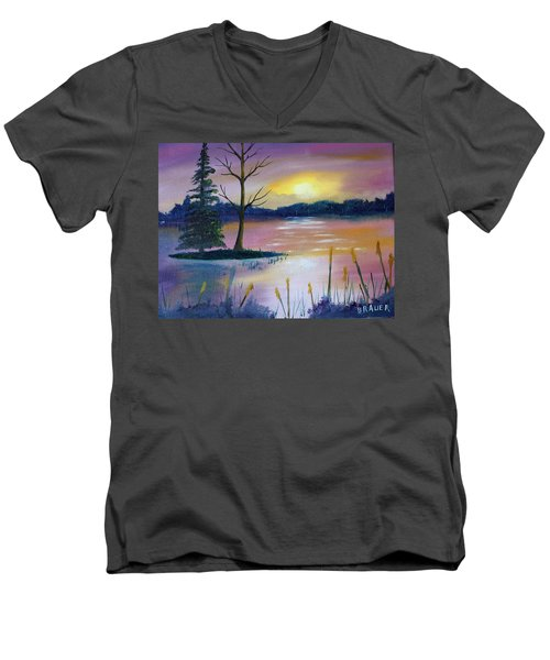 Men's V-Neck T-Shirt featuring the painting Stormy Sunset by Jack G Brauer
