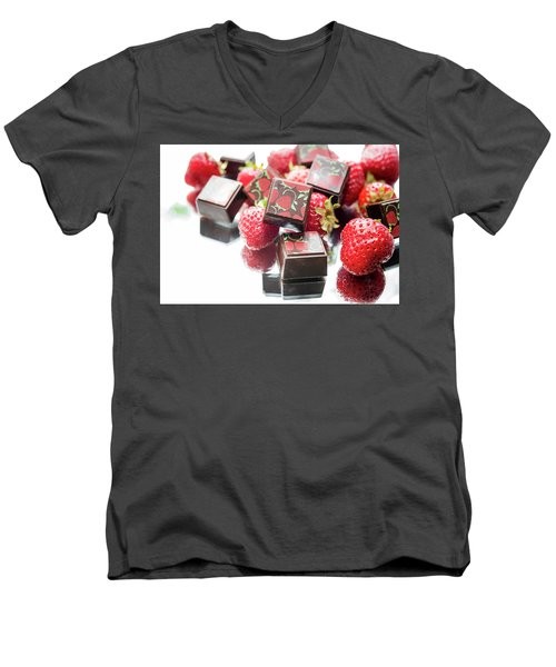 Strawberry Delight Men's V-Neck T-Shirt by Sabine Edrissi