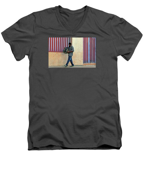 Men's V-Neck T-Shirt featuring the photograph Stripes by Joe Jake Pratt
