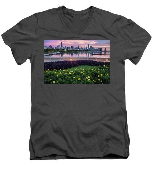 summer flowers and Chicago skyline Men's V-Neck T-Shirt