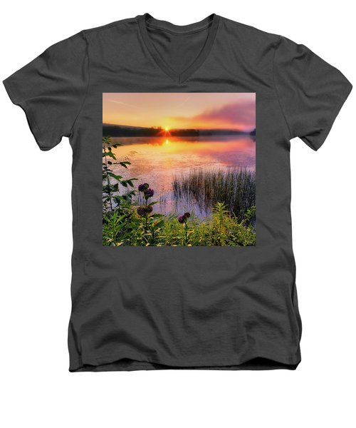 Men's V-Neck T-Shirt featuring the photograph Summer Sunrise Square by Bill Wakeley