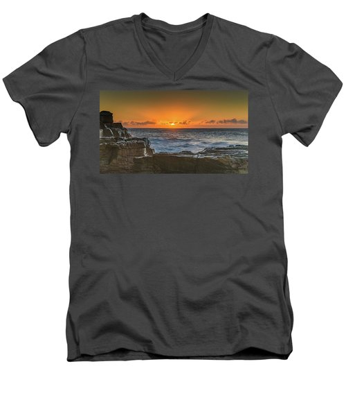 Sun Rising Over The Sea Men's V-Neck T-Shirt