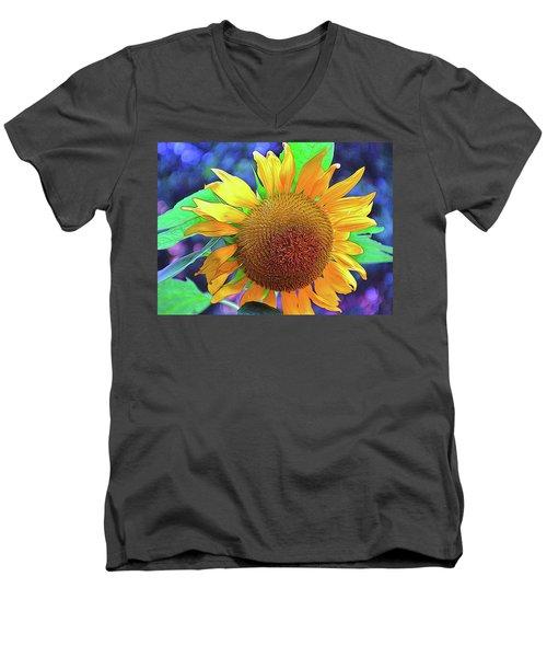 Men's V-Neck T-Shirt featuring the photograph Sunflower by Allen Beatty