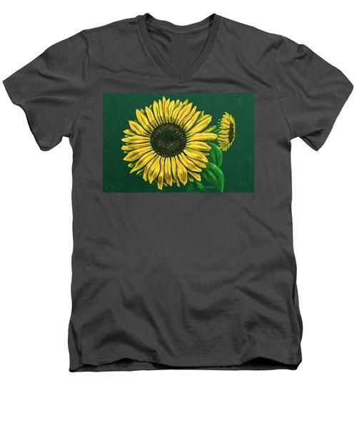 Sunflower Men's V-Neck T-Shirt by Ron Haist