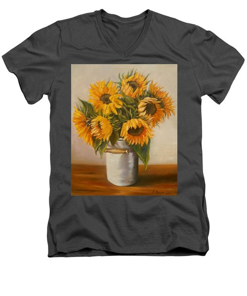 Sunflowers Men's V-Neck T-Shirt by Nina Mitkova