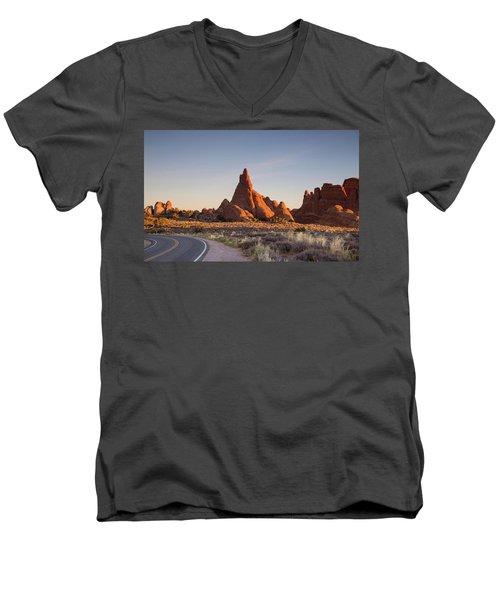 Sunrise In Arches National Park Men's V-Neck T-Shirt