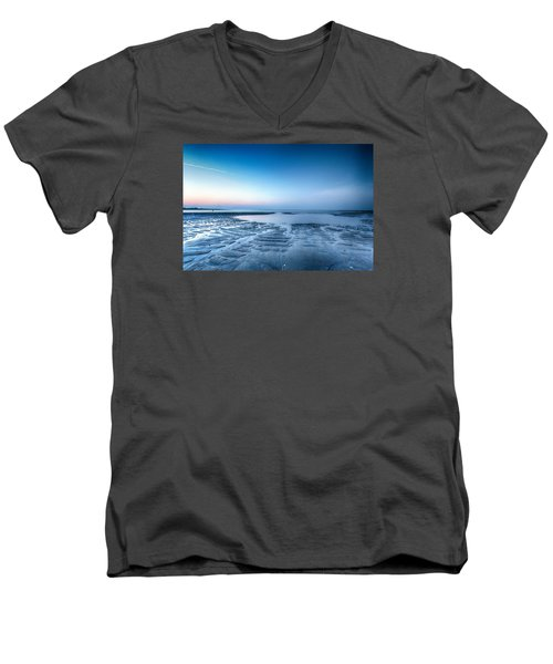 Blue Sunrise Men's V-Neck T-Shirt by Alan Raasch
