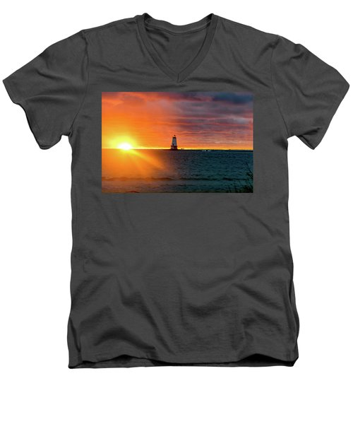 Sunset And Lighthouse Men's V-Neck T-Shirt