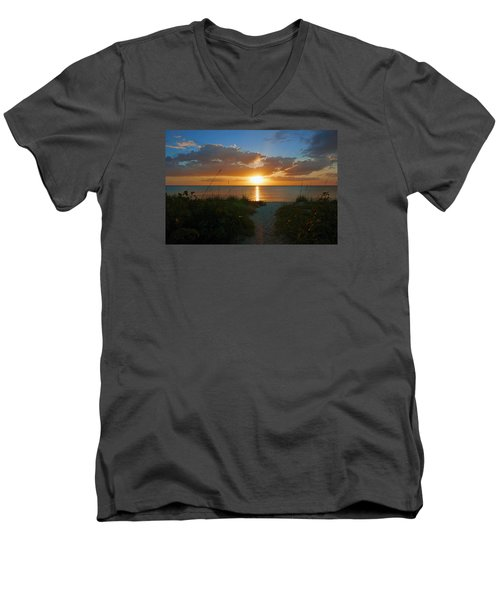 Men's V-Neck T-Shirt featuring the photograph Sunset At Delnor Wiggins Pass State Park by Robb Stan