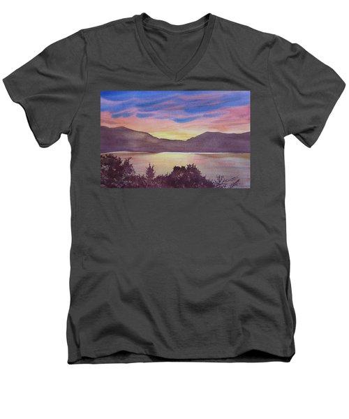 Sunset At Woodhead Campground Men's V-Neck T-Shirt by Joel Deutsch