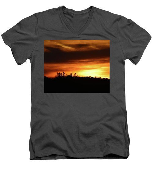 Sunset Behind The Clouds  Men's V-Neck T-Shirt by Lyle Crump