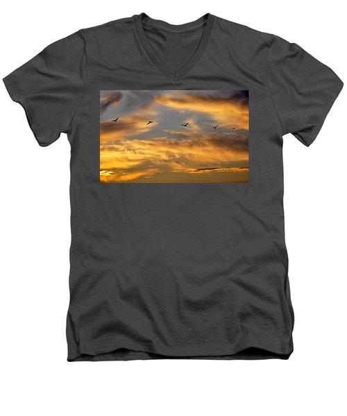 Sunset Flight Men's V-Neck T-Shirt by AJ Schibig