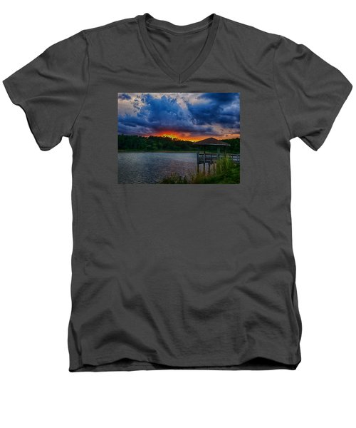 Men's V-Neck T-Shirt featuring the photograph Sunset Huntington Beach State Park by Bill Barber