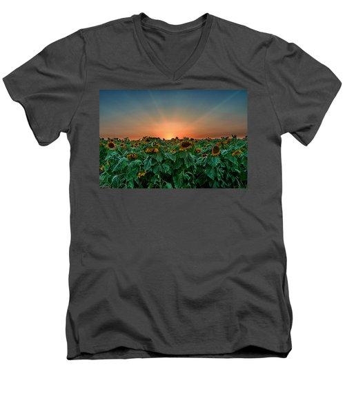 Sunset Over A Sunflowers Field Men's V-Neck T-Shirt