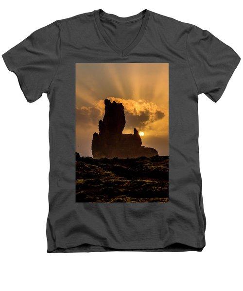 Sunset Over Cliffside Landscape Men's V-Neck T-Shirt by Joe Belanger