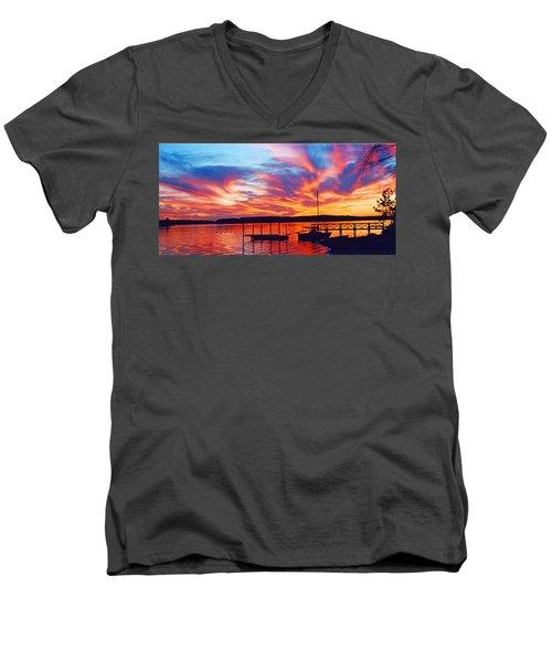 Sunset Over Lake Murray Men's V-Neck T-Shirt