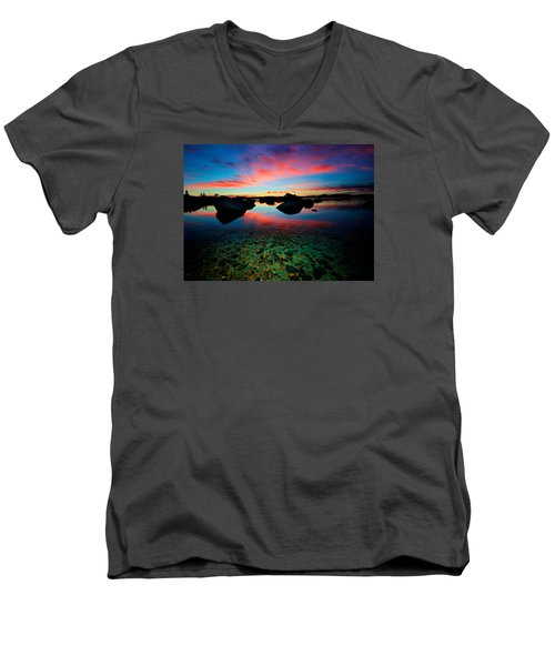 Sunset With A Whale Men's V-Neck T-Shirt by Sean Sarsfield