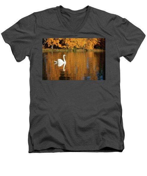 Swan On A Lake Men's V-Neck T-Shirt by Teemu Tretjakov